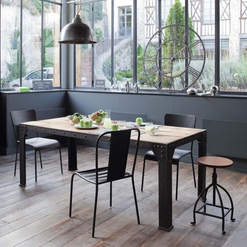 table-de-salle-a-manger-industriel-et-metal